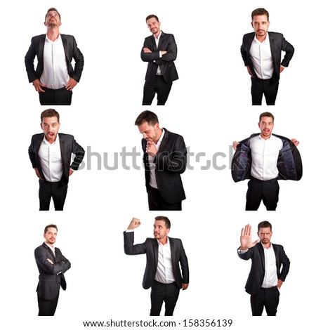 Set of young business man portraits doing different gestures - stock photo