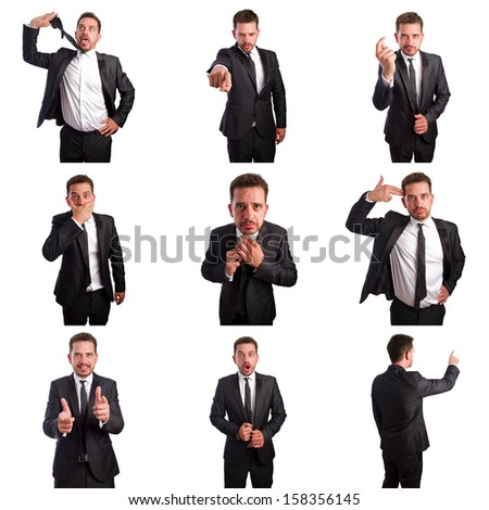Set of young business man portraits doing different gestures
