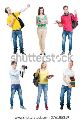 Set of young happy students on isolated background. - stock photo