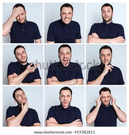 Set of young man's portraits with different emotions - stock photo