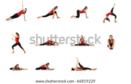 Set of young woman doing exercise, isolated on white - stock photo