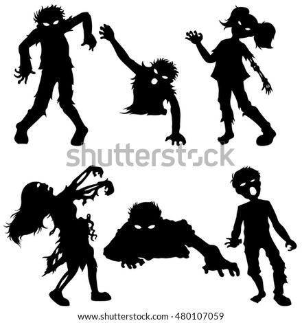 Set of zombie male and female of black silhouettes
