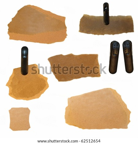 set old Cardboard Scraps and plastic clamp - stock photo