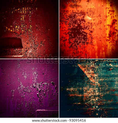 set old rusty metal in style grunge - stock photo