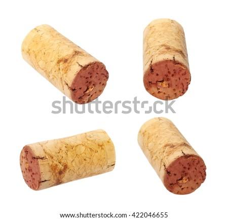 set old wine corks isolated on white - stock photo