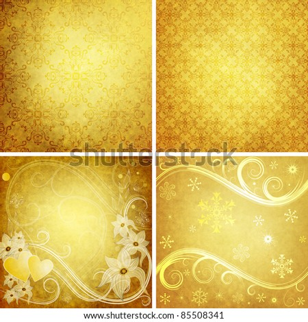 Set old yellow grunge paper for design - stock photo