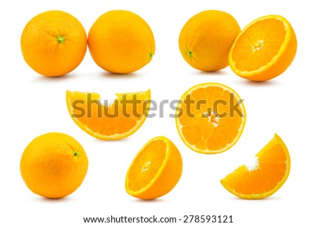 Set Orange isolated on white background  - stock photo