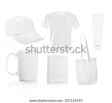 Set ot White blank men's t-shirt with a cap and other objects for advertising - stock photo