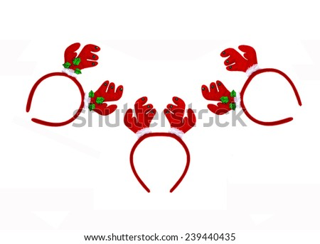 Set Pair of toy reindeer horns for festival of Christmas and new year, Isolated on a white background  - stock photo