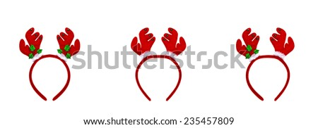 Set pair of toy reindeer horns for festival of xmas and new year isolated on a white background  - stock photo