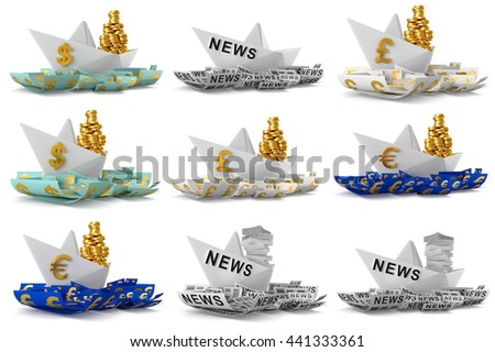 Set paper boat isolated on white background. 3D Graphic - stock photo