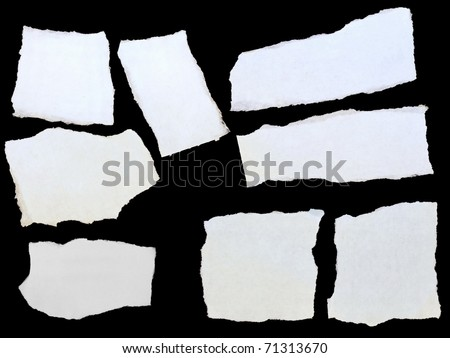 set paper scraps, cardboard isolated on black background - stock photo