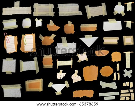 set paper scraps,cardboard, newspaper and masking tape isolated on black background - stock photo