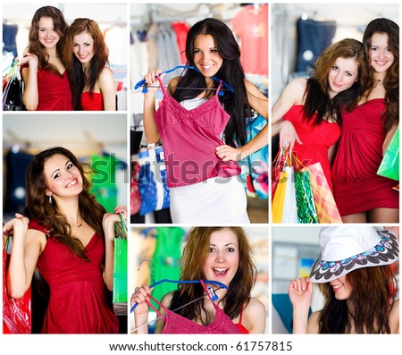 Set photos. Beautiful young woman shopping - stock photo