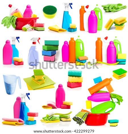 Set photos detergent and cleaning supplies isolated on a white background - stock photo