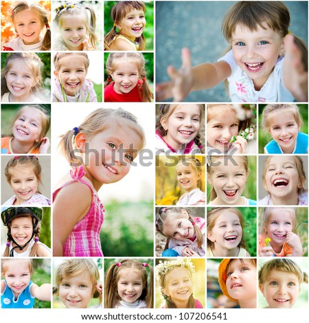 Set photos of a cute little girl - stock photo