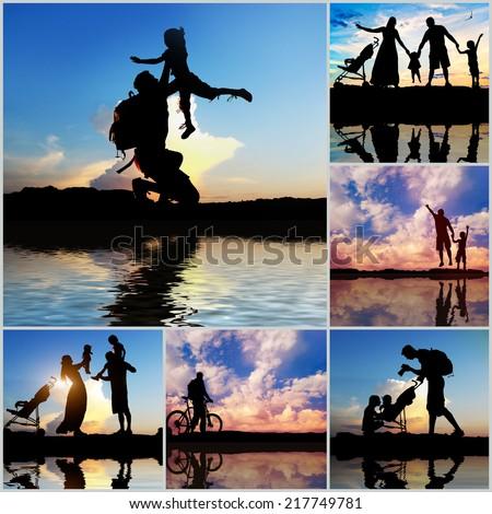 Set photos of a family summer vacation - stock photo