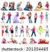 Set photos of a happy little girl. Isolated on white - stock photo