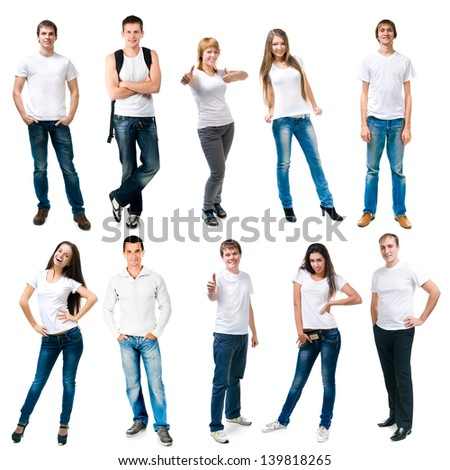 set photos of a young people smiling in white t-shirts - stock photo