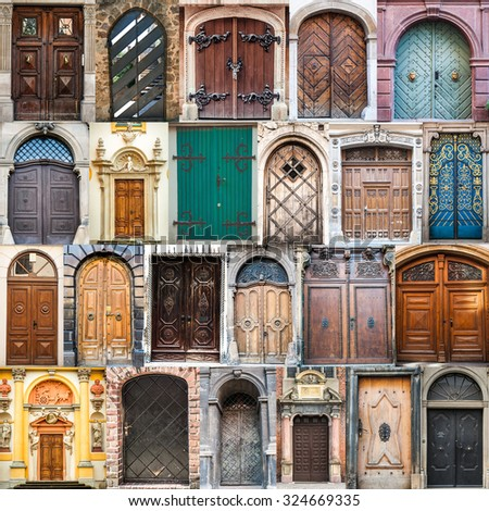 set photos of doors on the old districts of Europe