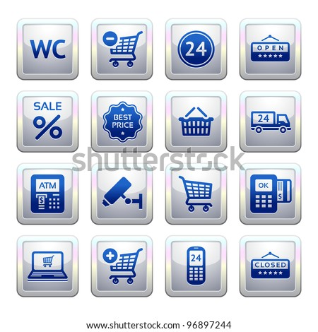 Set pictogram supermarket services, Shopping symbols. Blue. Web 2.0 icons. Bitmap copy my vector ID