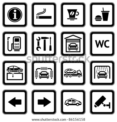 Set pictograms. Car services. Gas station. Symbols Roadside services. Black. Bitmap copy my ID 82258363 - stock photo