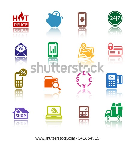 Set pictograms Shopping Icons. Colored with reflection. Vector version (eps) also available in gallery - stock photo