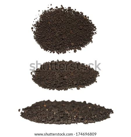set pile dirt isolated on white background - stock photo