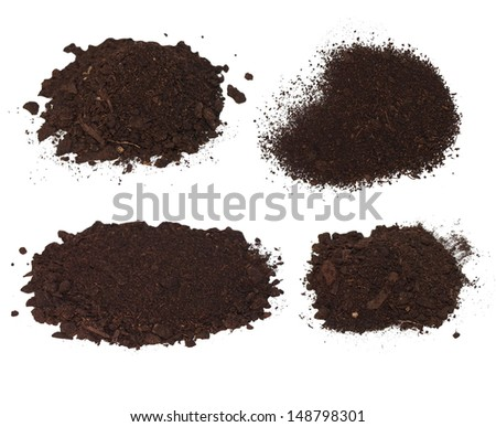 Set pile heap of soil humus isolated on white background - stock photo