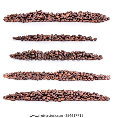 Set pile of coffee beans on white background