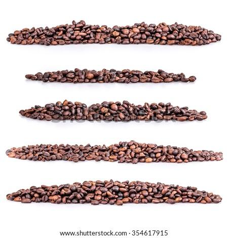 Set pile of coffee beans on white background - stock photo