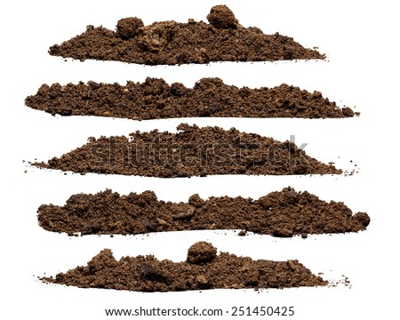 Set pile of soil isolated on white background - stock photo