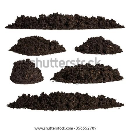 Set pile of soil isolated on white background - stock photo