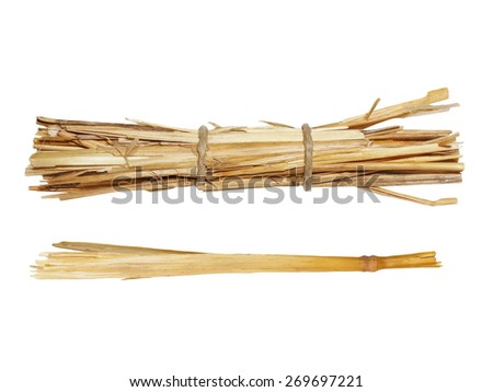 Set pile straw isolated on white background, (with clipping path) - stock photo