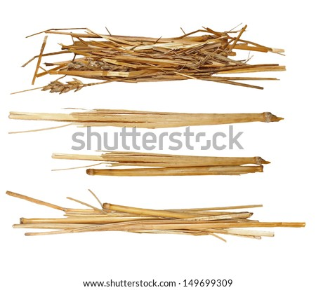 Set pile straw isolated on white, (with clipping path) - stock photo
