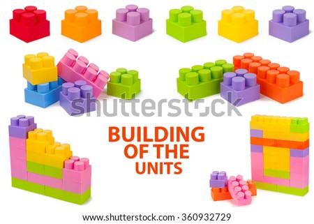 set Plastic blocks isolated on white background - stock photo