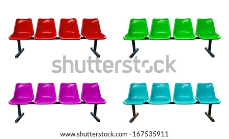 Set plastic chairs at the bus stop isolated on white background - stock photo