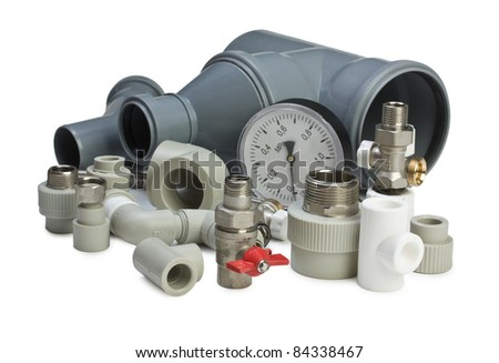 Set plumbing fittings  isolated on white background - stock photo