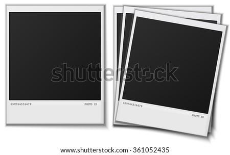 Set Polaroid photo frames on white background illustration image - stock photo