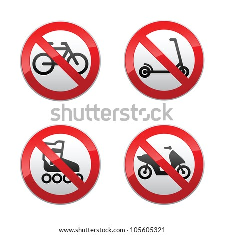 Set prohibited signs - active sports - stock photo