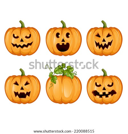 Set pumpkins for Halloween.  - stock photo