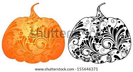 Set pumpkins isolated on White background.  illustration - stock photo