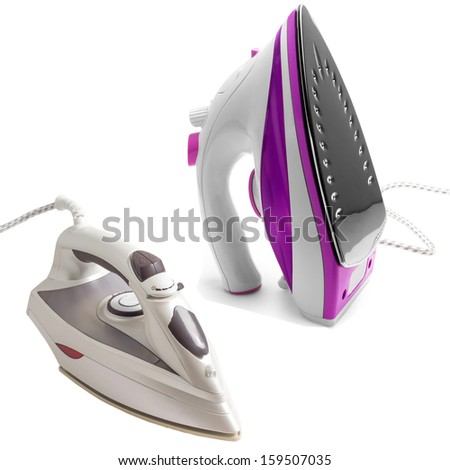 set purple electric steam iron isolated on white background - stock photo