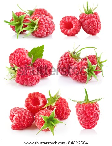 set raspberry with green leaf isolated on white background - stock photo