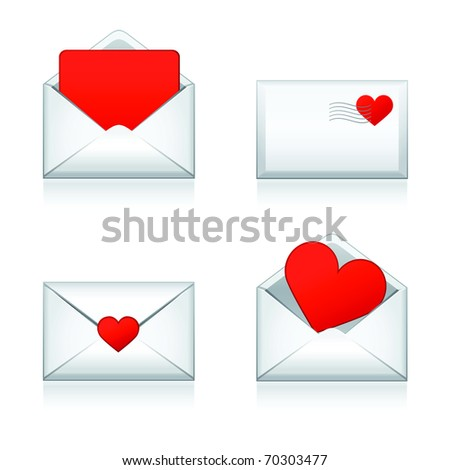 Set raster e-mail, envelop icons with heart .For Valentine Day. - stock photo