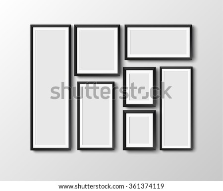 set Realistic black photo picture frame at light background.  illustration.  frame for your projects Raster version - stock photo