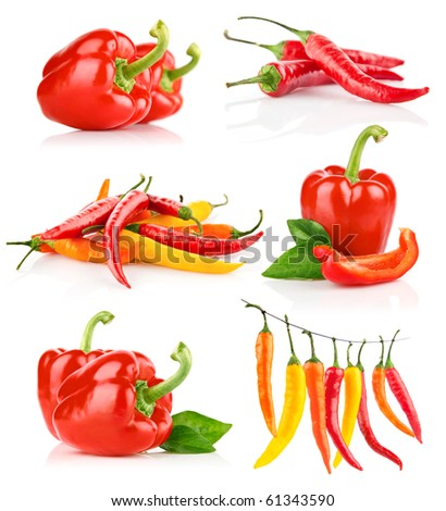 set red pepper fruits with green leaf isolated on white background - stock photo
