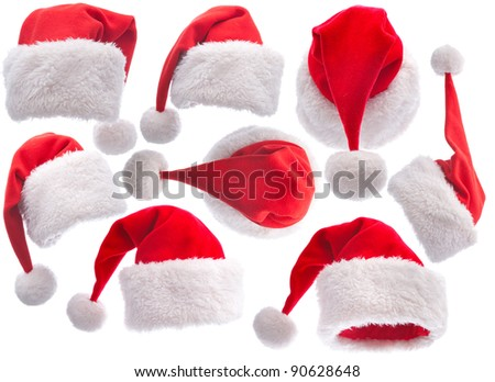 set red Santa Claus hat on white background - stock photo