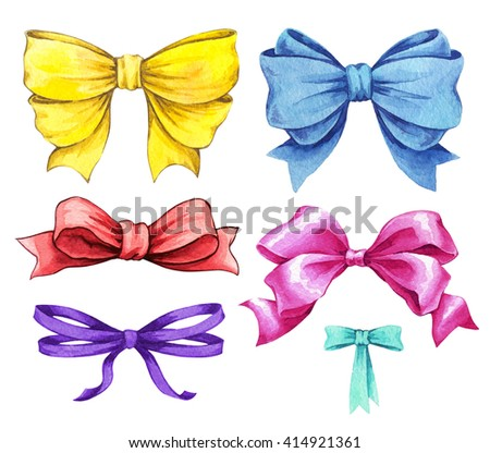 Set ribbon and bow watercolor illustrations. Hand drawn detailed festive elements in classic style isolated on white background