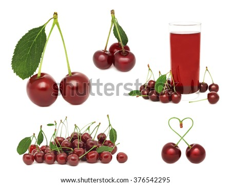 Set ripe cherry with green leaves isolated on white background
